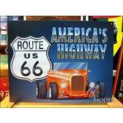 アメリカンブリキ看板 U.S. ROUTE66 -AMERICAN'S HIGHWAY-