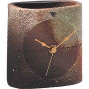 【代引不可】 信楽焼 樹 置時計 目覚まし時計