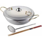 【代引不可】 しゃぶしゃぶ鍋(26cm)菜箸・網お玉付 キッチン・鍋・パン