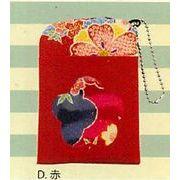 【ご紹介します!手触りの良いちりめん生地の花柄が可愛い!(CK)ロマン柄パスケース(4色)】D赤