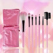メイクブラシセット  持ち運びに便利な化粧ケース付き  7本化粧ブラシセット