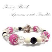 天然石 ピンク&ブラック 姫カワイイ ブレス デザインブレスレット 《SION パワーストーン 天然石》