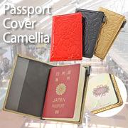 【旅行 パスポート】パスポートケース エナメルカメリア 赤 黒 ゴールド レディース カバー