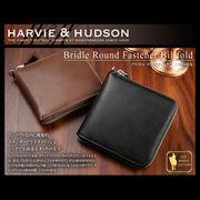Harvie and Hudson ラウンドファスナー 二つ折り財布 ブラック HA-1004-BK
