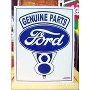 アメリカンブリキ看板 フォード・ロゴ -Genuine V8-