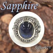 リング / 11-0091  ◆ Silver925 シルバー リング カレッジリング タイプ サファイア 16号