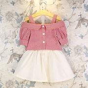 ★夏新しいスタイル★キッズ   女の子   フリル半袖Tシャツ+スカート★2点セット