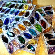 ガラス製カラービジュー リーフ型14色各1個 在庫処分品