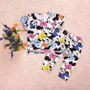 パジャマ半袖&八分短パン(ミニーマウス)90cm~130cm 春夏 薄手綿100%