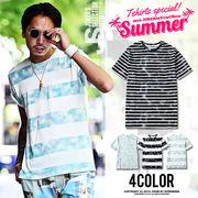 こなれた色合いがポイント♪デニムルックボーダー半袖Tシャツ/メンズ トップス インナー カットソー DENIM