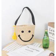 スマイル刺繍 バケツ型 ショルダーバッグ 可愛い笑顔