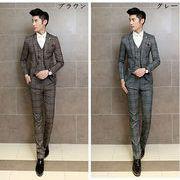 紳士服 スーツ・セットアップ メンズ/1ボタン チェック柄/カジュアル ビジネス/2 piece卒業式 結婚式