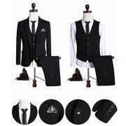 セットアップ 1ボタン黒スーツ メンズ  ビジネスsuit スリム/フォーマル 面接 結婚式宴会3点セット