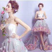 前短後長★トレーン/pink/パーティー/ウェディングドレス イブニングドレス 結婚式 お呼ばれ★花嫁/披露宴