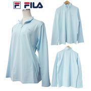 FILA フィラ FL8299 レディース 吸水速乾 長袖 ZIP ポロシャツ サックス