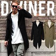 最新トレンド♪【DIVINER】Wガーゼフードシャツコート/メンズ アウター 秋冬 羽織り ロング丈