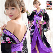 0394A豪華ビジュー和柄ロング着物ドレス 和柄 衣装 ダンス よさこい 花魁 コスプレ キャバドレス