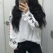 09824046 レター模様BF風長袖Tシャツ
