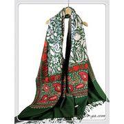 オリジナルゴージャス全面刺繍インドカシミールウール・アーリ刺繍大判ストール