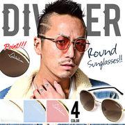 人気のカラーレンズ★【DIVINER】ラウンドサングラス/丸眼鏡 メガネ オラオラ メンズ ラウンド