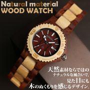 日本製ムーブ 日付カレンダー 天然素材 ウッドウォッチ 木製腕時計 軽量 レディース腕時計 WDW001-01