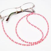 ピンク珊瑚×水晶 メガネチェーン 眼鏡チェーン グラスコード