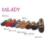 【ミレディー】  ML620 リボン モカシン ムートンシューズ 全7色 レディース