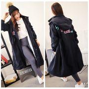 【sale941015】大きいサイズ☆ロゴ刺繍ロングジャンパー 3L 4L
