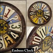 【Antique Emboss Clock】レトロ調 NUMBER PLATE アンティーク エンボスクロック★ナンバープレート★