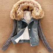 ●切り替え風ファー襟ニット袖ダメージデニムジャケット:デニム_H01B8706