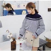 韓国風★ヘッジ★シャツ★ニッティング★フリル★スプライシング★ストライプス★シャツ★女★