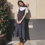 韓国風★女性服★新しいデザイン★Vネック★フローラル★ワンピース★女★ドレス★学生★シ