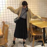 韓国風★新しいデザイン★何でも似合う★単一色★ベルベット★プリーツスカート★ロングスタイ