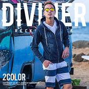 2017春夏新作★【DIVINER】インディゴ裏毛ZIPパーカー/メンズ トップス スウェットデニム カットデニム