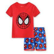 プリントパジャマ半袖&短パン(スパイダーマン)90cm~130cm 春夏 薄手綿100%