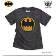 ★バットマン×ミニットマース★ヘリンボーン柄でバットマンマークを模ったフロッキープリントTシャツ★