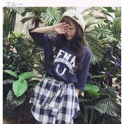 韓国風★春夏★新しいデザイン★スプライシング★格子縞のシャツ★フェイク2点セット★ワンピ