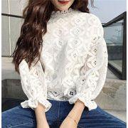 スカラップ刺繍シャツ パンチングレース オーバーブラウス ドルマ透け感トップス Vネック7分袖フリル