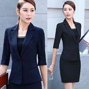 ★S~4L★大きいサイズ  OL通勤 通学 面接 ビジネス 5分袖ジャケット レディーススーツ