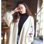 ニットカーディガン 刺繍花柄セーター 襟付きジャケット トップスマキシコート ストレッチアウター