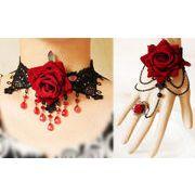 ◆ゴシックシリーズ◆  ブラックレースバラ ネックレスとブレスレットセット