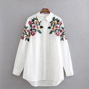 花柄刺繍ブラウス レディーストップス ファッション柄物 可愛い長袖シャツ 前ボタン襟付き