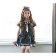 可愛いマリン 半袖ワンピース 襟セーラー リボン通学フレア学院風 森ガール 海軍風卒業式 韓国子供服