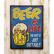 レトロ調 ★ レクトエンボスプレート Beer is Life ★