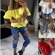 海外大流行♪レディース欧米 一字襟 半袖 Tシャツ  全4色 7apr-609c-9891