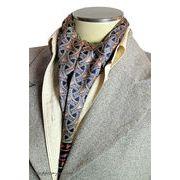エレガント袋縫いプリント柄メンズ用100%シルクスカーフ 10100