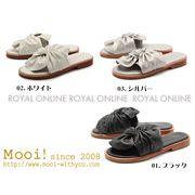 【Mooi!】 MF327 本革 リボン サンダル 全3色 レディース