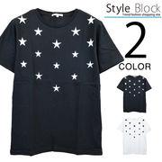 星プリント&刺繍クルーネックTシャツ/sb-255662
