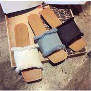 新作 女の靴 サンダル シューズ カジュアル OLスタイル スリッパ 3色 平底 デニム製