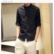 男 亜麻 シャツ アンティーク調 コットン 七分袖 シャツ 男 男性服装